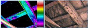 Imagen termográfica de un techo de madera
